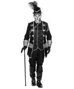 Déguisement de vaudou pour homme, costume noir et argent avec veste et pantalon