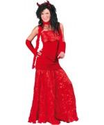 Déguisement de diablesse pour femme, longue robe rouge et paire de gants assortis