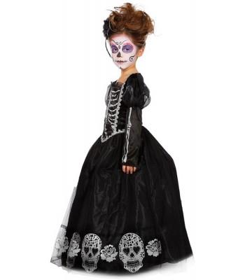 """Déguisement princesse squelette """"Day of the dead"""" fille"""