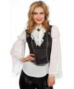 Chemise blanche à longues manches avec jabot et boléro - costume pirate gothique