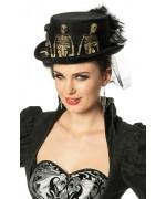 Chapeau squelette, un haut de forme noir décoré de squelettes avec voile et plumes