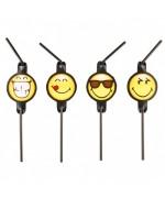 Décorez vos tables de Smiley grâce à ce lot de 8 pailles Smiley Emoticons