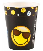 Gobelets Emoticons, lot de 8 gobelets Smiley de couleur noir - 150ml