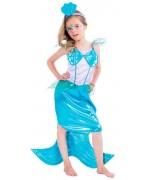 Déguisement de petite sirène pour fille de 3 à 10 ans avec robe et coiffe