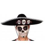 Sombrero Dia de los muertos, chapeau mexicain noir d'environ 58 cm - chapeau halloween