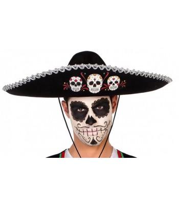 Sombrero mexicain Dia de los muertos 58 cm