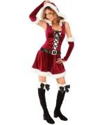 Déguisement mère noël avec robe, gants et jambières - incarnez un personnage féerique à l'occasion des fêtes de Noël