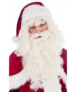 Perruque de Père Noël avec barbe luxe, un set idéal pour compléter votre costume de Père Noël