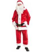 Déguisement de Père Noël Américain de bonne qualité en matière peluche avec pantalon, veste, ceinture et bonnet