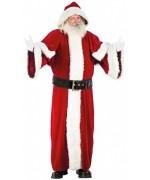 Costume de Père Noël de très haute qualité, modèle Européen avec long manteau à capuche et ceinture