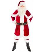 Costume de Père Noël de qualité avec long manteau à capuche, pantalon, ceinture, bonnet et surbottes