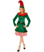 Déguisement de lutin de noël femme avec robe et bonnet, incarnez un personnage féerique à l'occasion des fêtes de noël