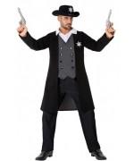 Déguisement de shérif noir pour homme, veste avec plastron et pantalon