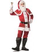 Déguisement de Père Noël luxe avec motifs dorés, également disponible en grandes tailles