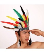 Coiffe d'indien multicolore avec plumes