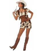 Déguisement cowgirl luxe motif vache - costume western