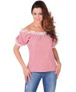 Blouse de cowgirl vichy rouge et blanc idéale pour une soirée country ou Far West