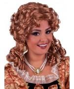 Perruque de marquise châtain pour femme, perruque d'époque aux longs cheveux bouclés