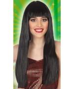 Longue perruque noire avec frange