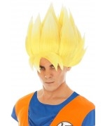 Perruque Goku jaune Saiyan Dragon Ball Z adulte sous licence officielle