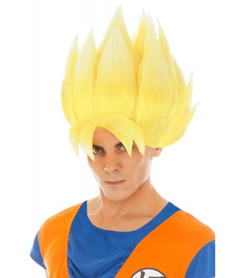 Perruque Goku jaune Saiyan Dragon Ball Z adulte