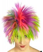 Perruque fluo multicolore, un accessoire indispensable lors d'une soirée 80's