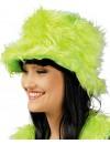 Chapeau en fourrure vert fluo idéal pour le carnaval