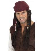 Perruque de pirate pour homme avec dreadlocks et foulard