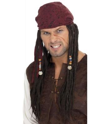 Perruque pirate avec foulard et dreadlocks