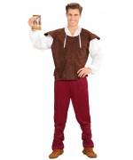 Déguisement de tavernier médiéval pour homme avec pantalon, chemise, gilet et lacets