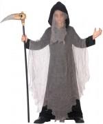 déguisement de faucheuse pour enfant et 3 à 12 ans, longue tunique noire à capuche | costume Halloween