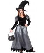 Déguisement sorcière fille noire et argent