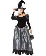 Déguisement de sorcière grande taille pour femme, longue robe avec chapeau