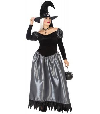 Déguisement sorcière noire et argent grande taille