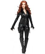 déguisement veuve noire femme avec combinaison, ceinture double holster et mitaines