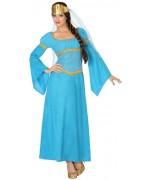 Déguisement reine bleue adulte avec robe et coiffe - deguisement medieval