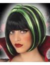 Perruque noire avec mèches vertes