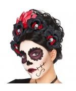 Serre-tête mexicain jour des morts avec roses rouges et noires