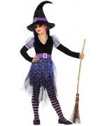 Déguisement de sorcière violette pour fille de 3 à 12 ans, robe avec paillettes et chapeau