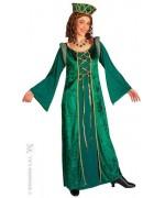 Déguisement princesse médiévale, longue robe médiévale verte et coiffe assortie - costume médiéval