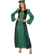 Déguisement de princesse médiévale de couleur vert pour femme avec robe et coiffe