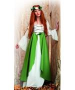 déguisement médiéval femme vert, costume avec robe et couronne de fleurs- costume magie et sorcellerie