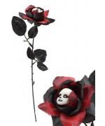 Rose noire et rouge avec visage blanc idéale pour réaliser une décoration pour Halloween