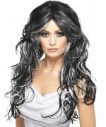 Perruque noire et grise longue et ondulée idéale pour incarnez une sorcière ou une vampire pour Halloween