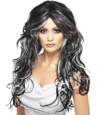 Perruque noire et grise longue ondulée