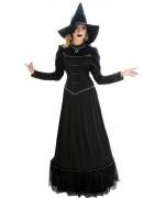 déguisement de sorcière noire pour femme, longue robe avec chapeau