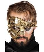 Demi masque Steampunk couleur or pour homme