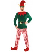 Déguisement de lutin de Noël homme avec pantalon, maillot et bonnet