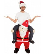 Déguisement Père Noël porte-moi adulte, donnez l'illusion d'être sur les épaules du Père Noël