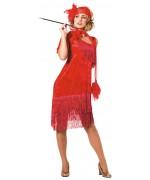 Déguisement charleston rouge luxe, longue robe rouge avec franges et bandeau assorti
